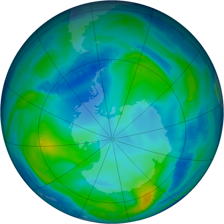 Antarctic ozone map for 26 May 1997