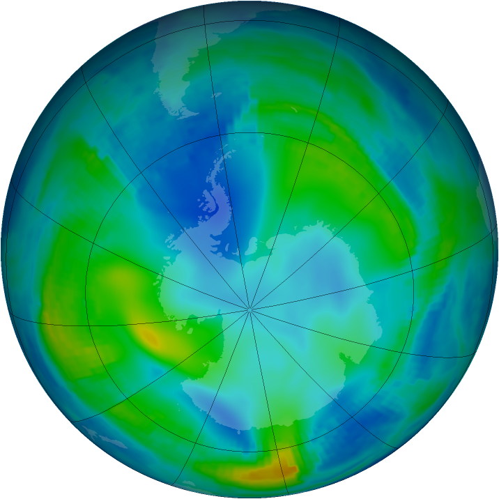 Antarctic ozone map for 27 May 1997