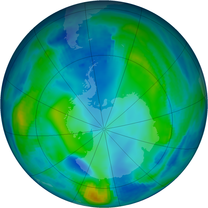 Antarctic ozone map for 28 May 1997