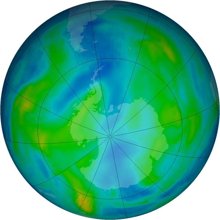 Antarctic ozone map for 29 May 1997