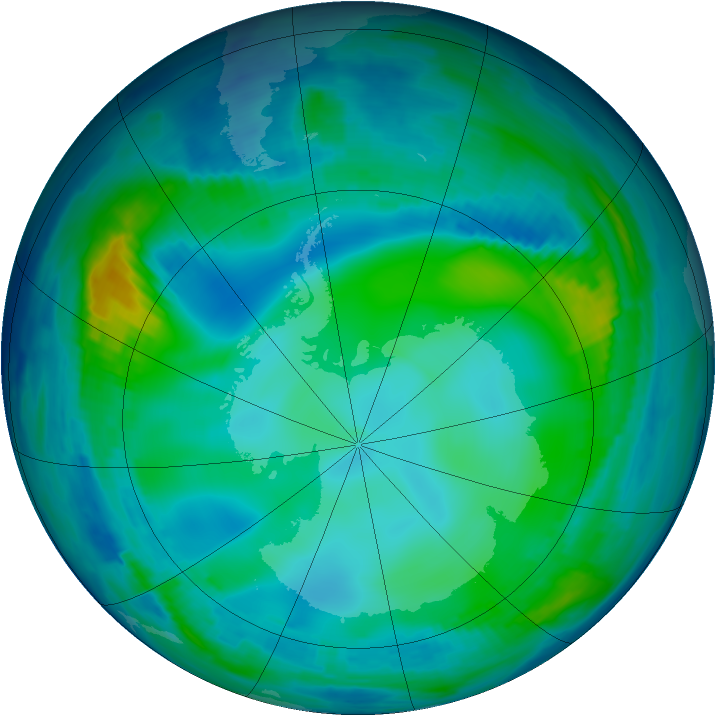 Antarctic ozone map for 31 May 1997