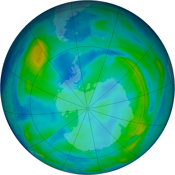 Antarctic ozone map for 01 June 1997