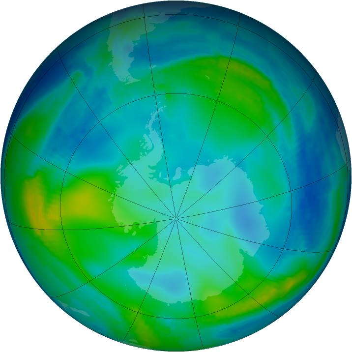 Antarctic ozone map for 13 June 1997