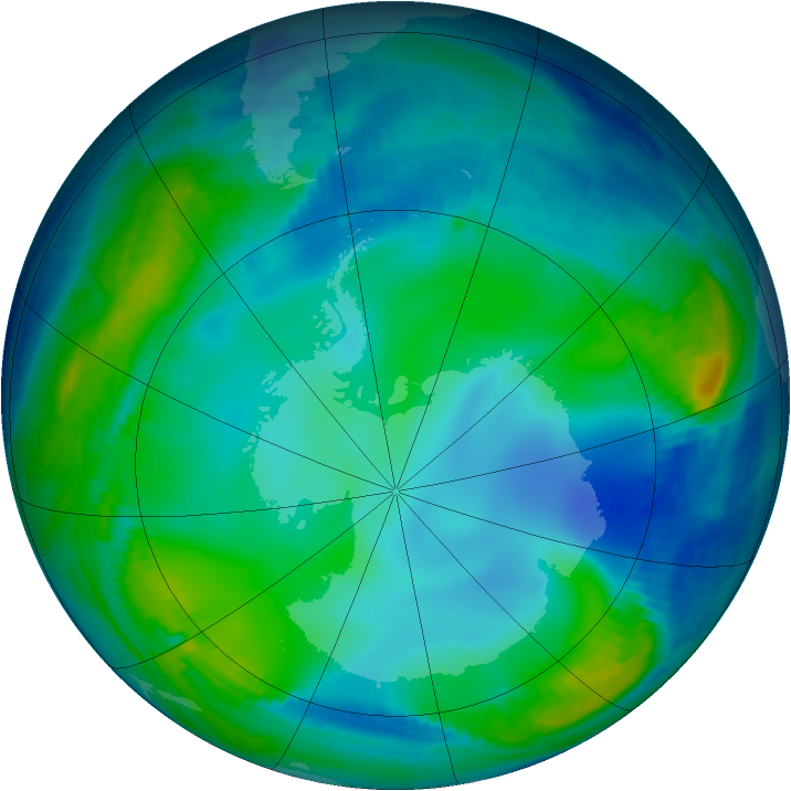 Antarctic ozone map for 17 June 1997