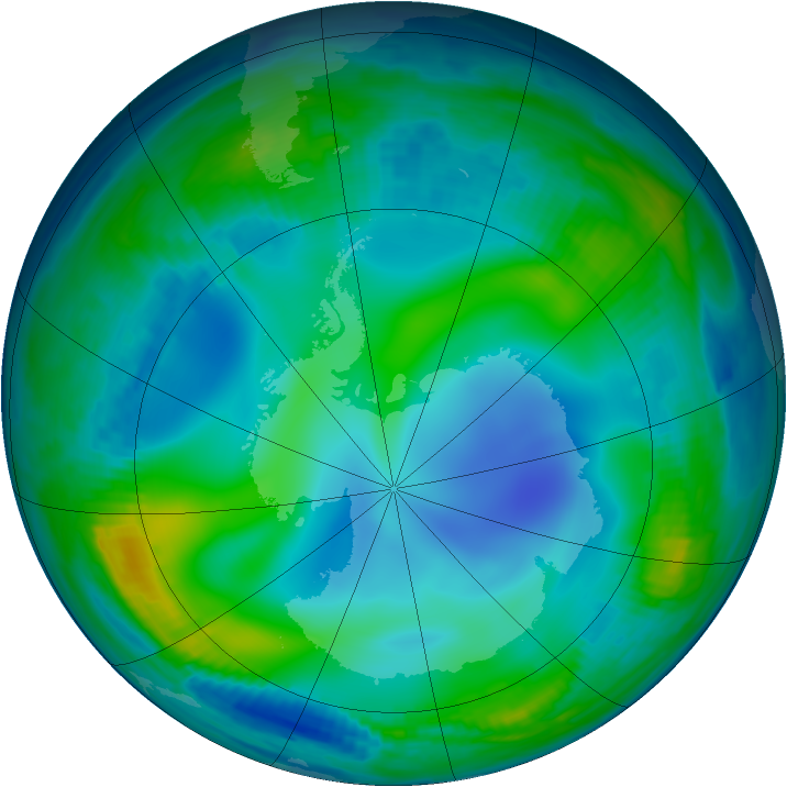 Antarctic ozone map for 21 June 1997
