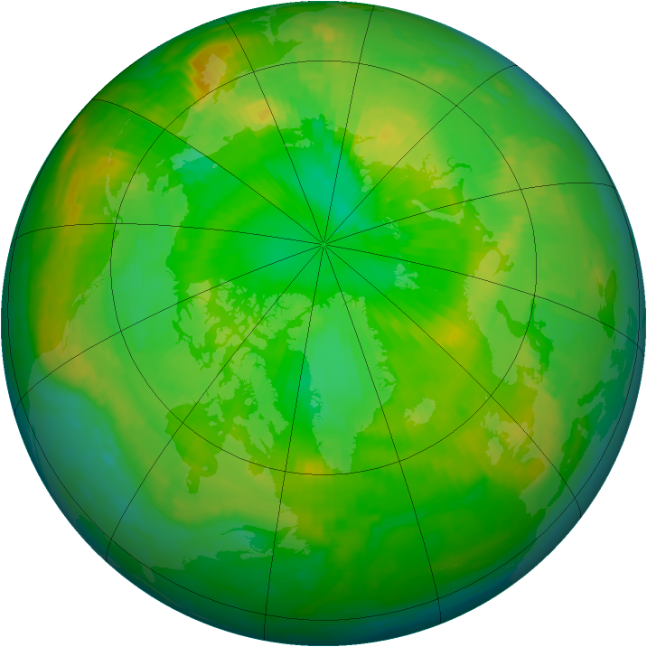 Arctic ozone map for 22 June 1997