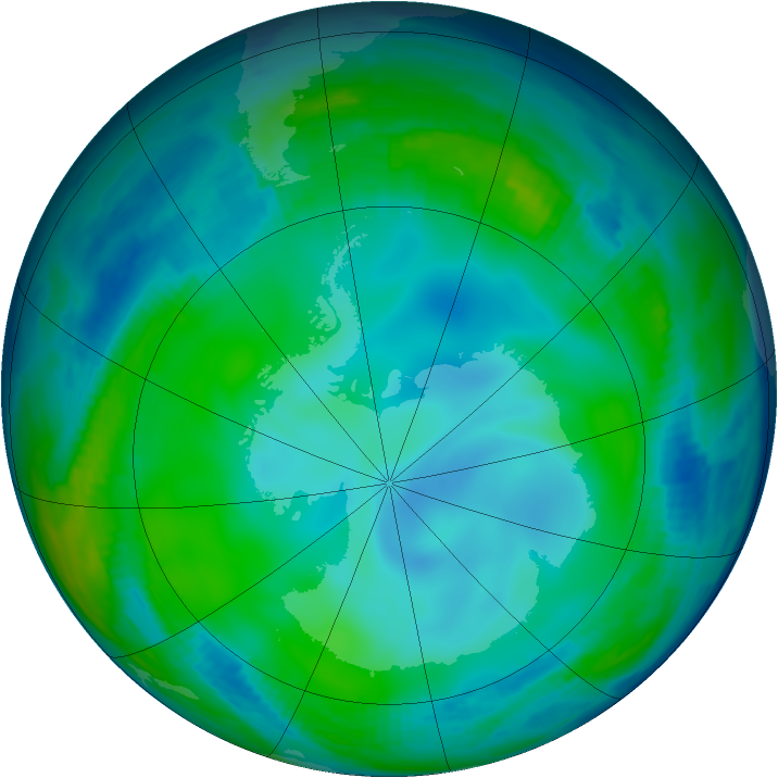 Antarctic ozone map for 28 June 1997