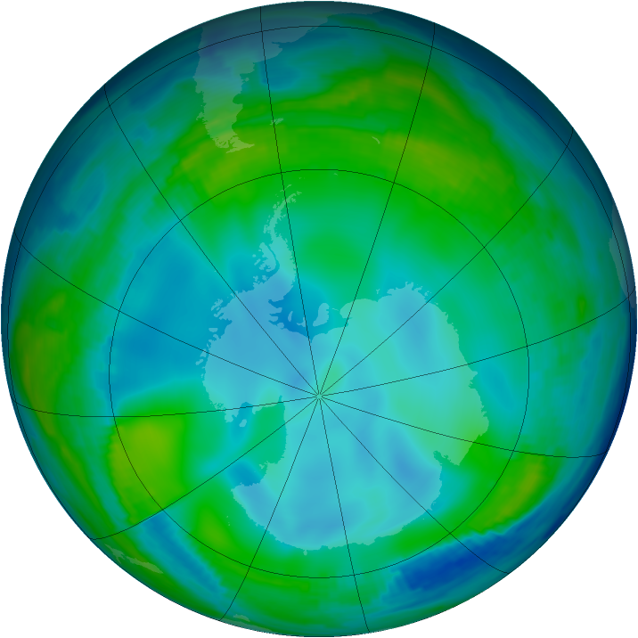 Antarctic ozone map for 01 July 1997