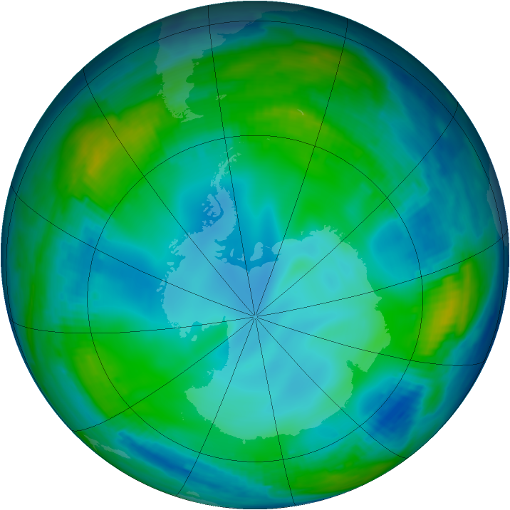 Antarctic ozone map for 05 July 1997