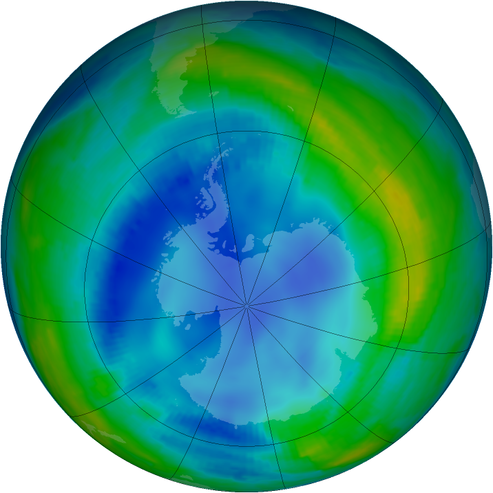 Antarctic ozone map for 03 August 1997