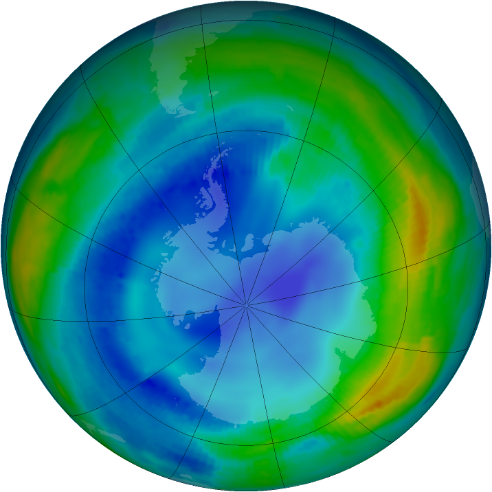 Antarctic ozone map for 06 August 1997