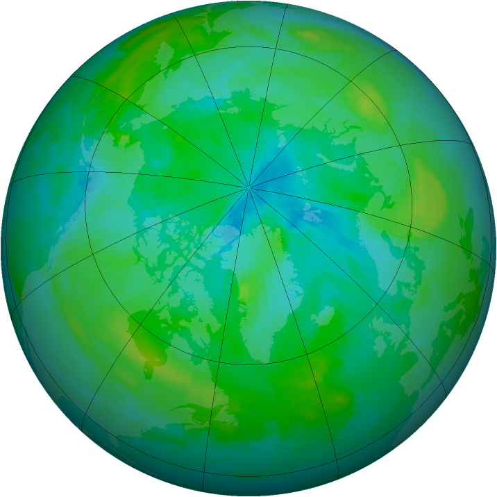 Arctic ozone map for 15 August 1997