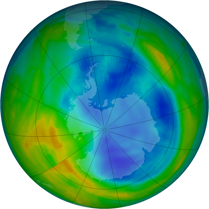 Antarctic ozone map for 17 August 1997