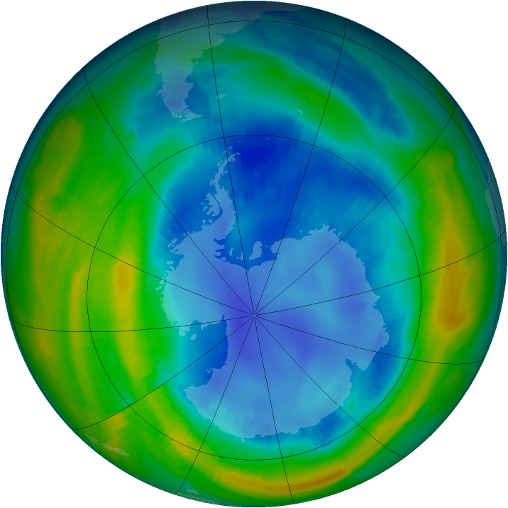 Antarctic ozone map for 20 August 1997