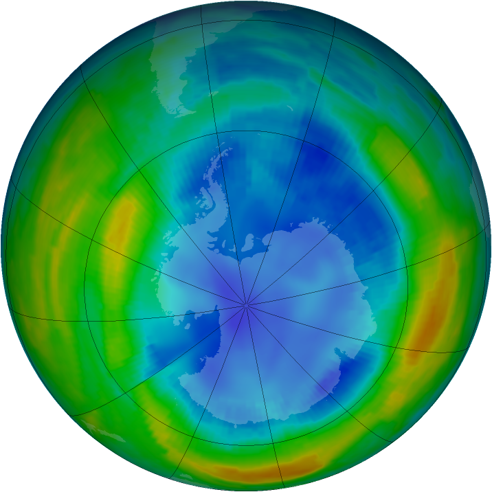 Antarctic ozone map for 21 August 1997