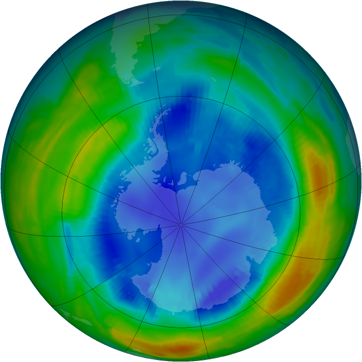 Antarctic ozone map for 22 August 1997