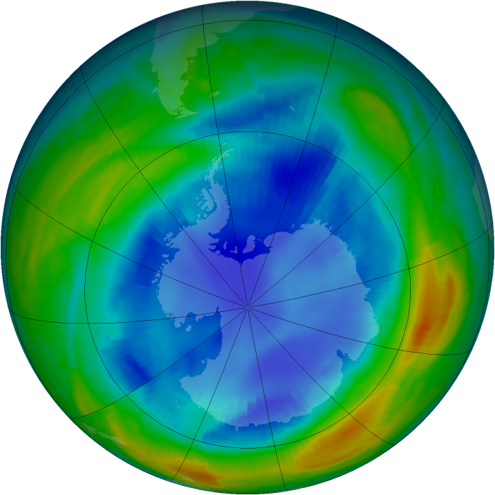 Antarctic ozone map for 23 August 1997