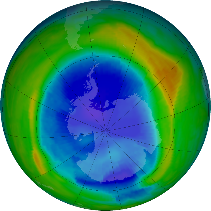 Antarctic ozone map for 02 September 1997