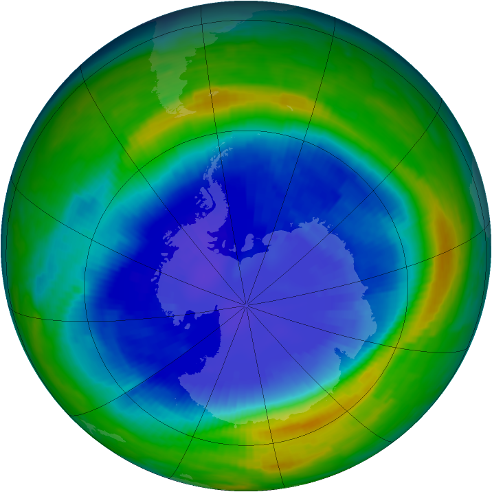 Antarctic ozone map for 07 September 1997