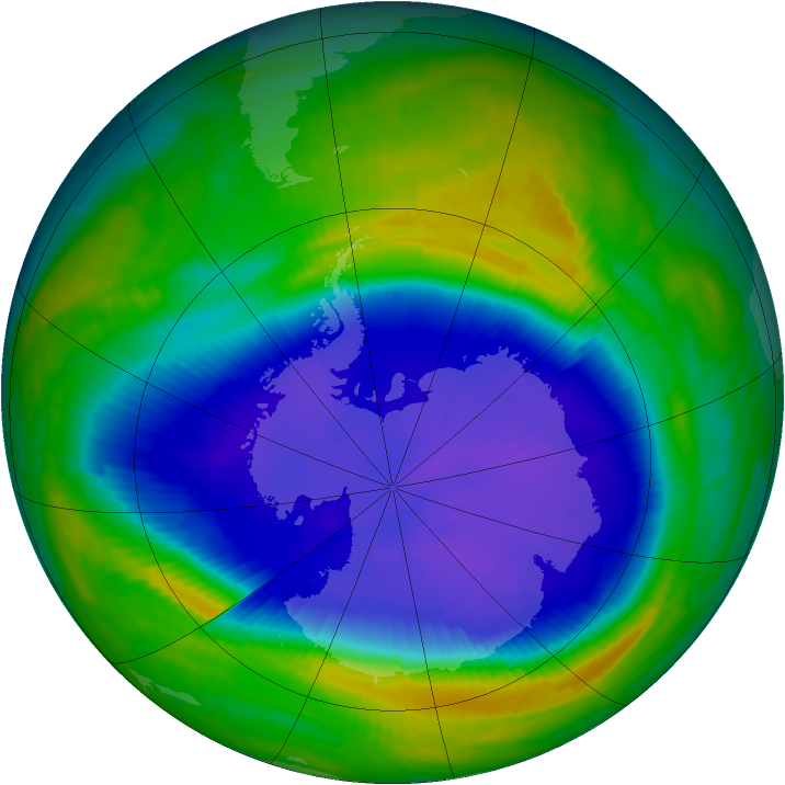 Antarctic ozone map for 19 September 1997
