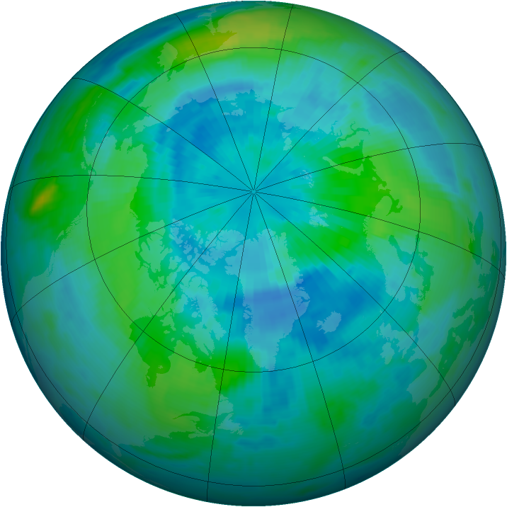 Arctic ozone map for 21 September 1997