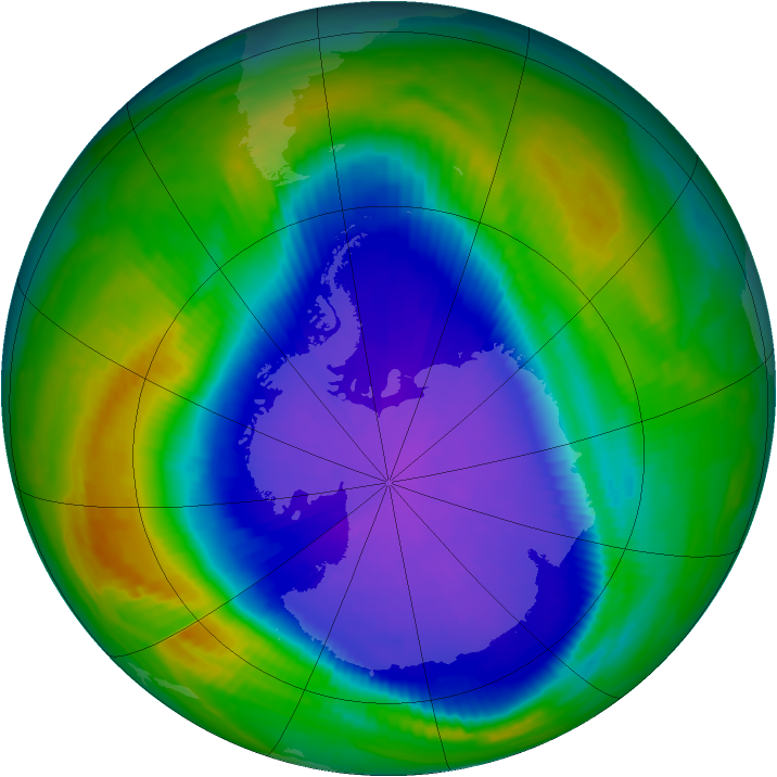 Antarctic ozone map for 23 September 1997