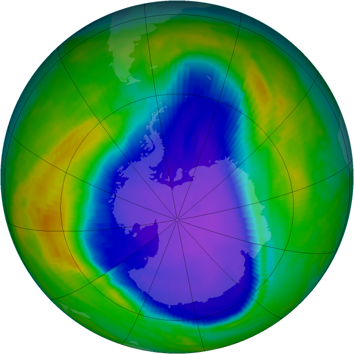 Antarctic ozone map for 24 September 1997