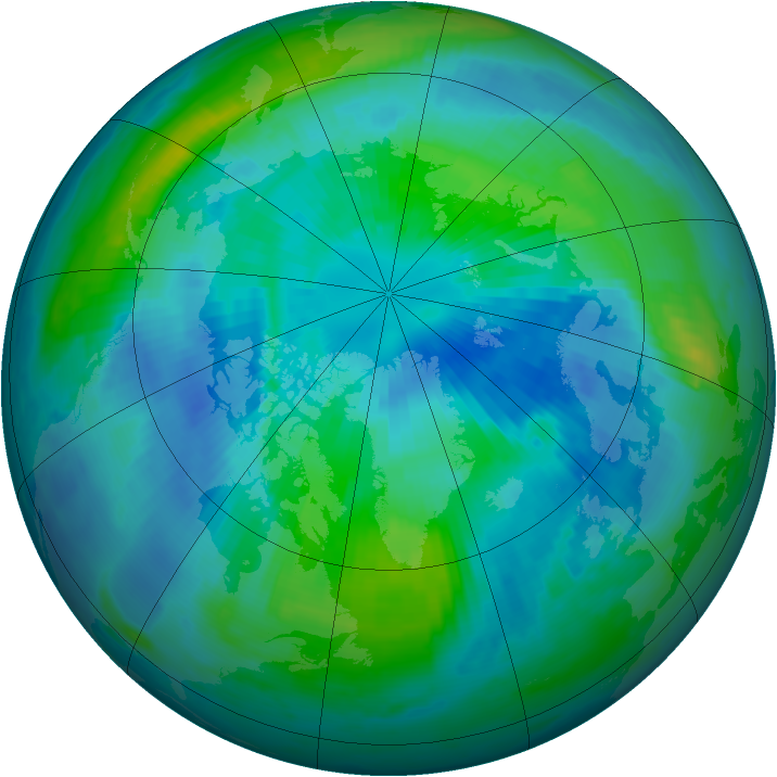 Arctic ozone map for 25 September 1997