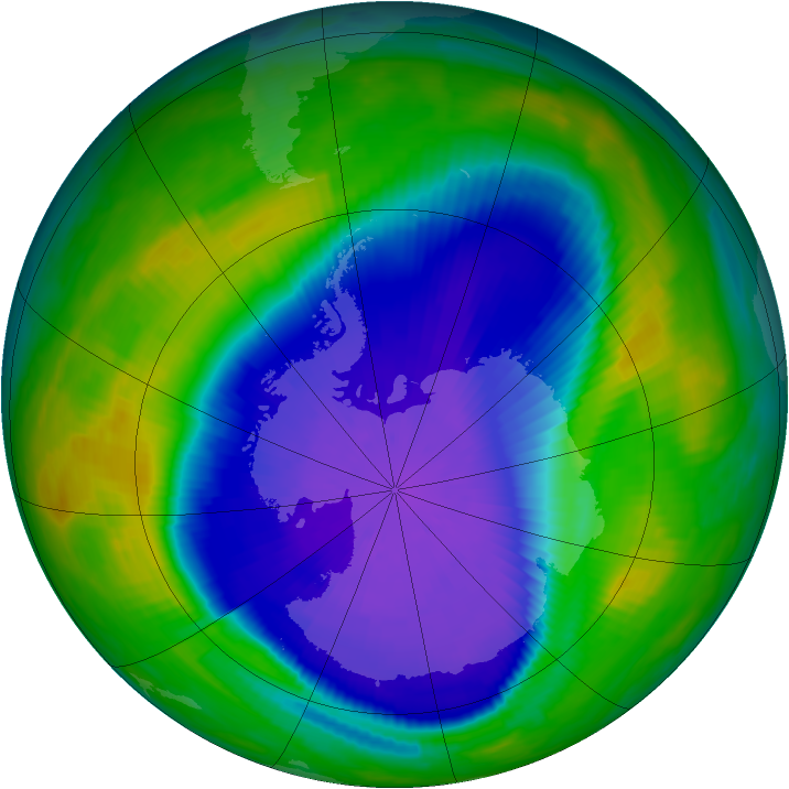 Antarctic ozone map for 25 September 1997