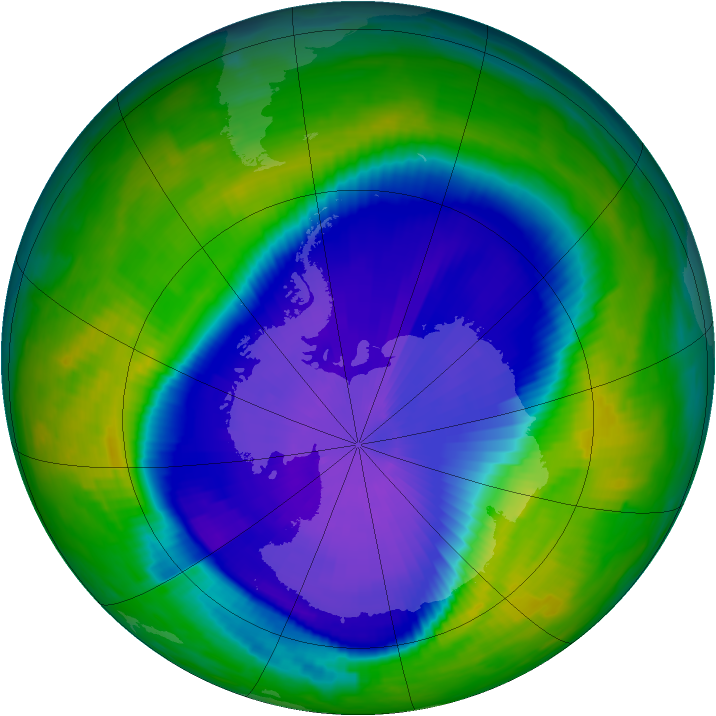 Antarctic ozone map for 26 September 1997