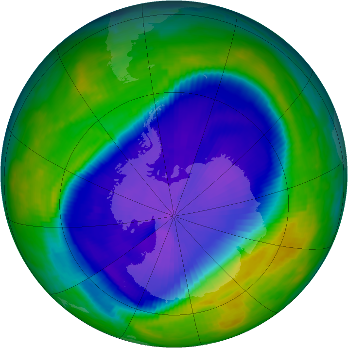 Antarctic ozone map for 27 September 1997