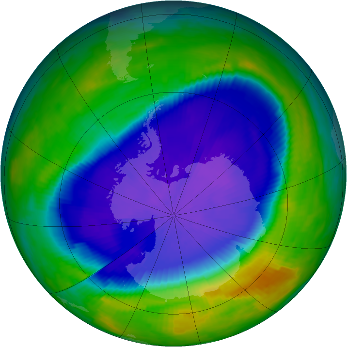 Antarctic ozone map for 28 September 1997