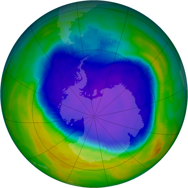 Antarctic ozone map for 03 October 1997