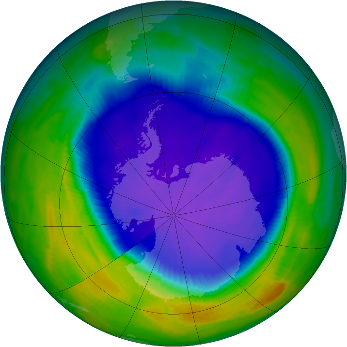 Antarctic ozone map for 04 October 1997