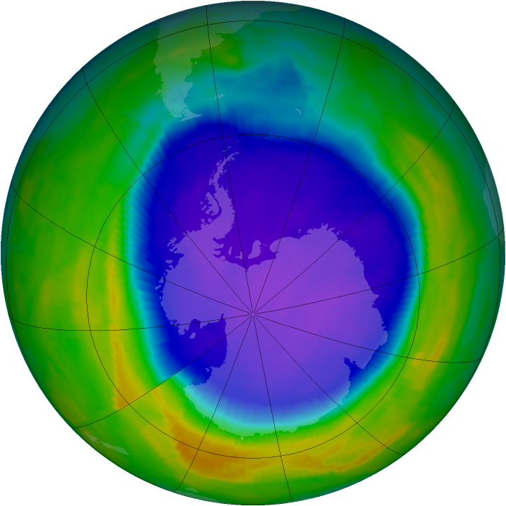 Antarctic ozone map for 05 October 1997