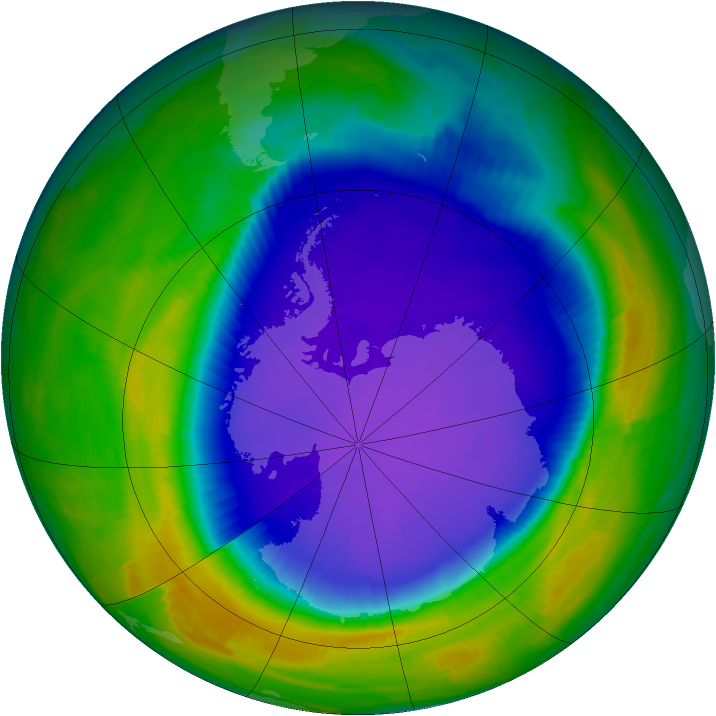 Antarctic ozone map for 06 October 1997