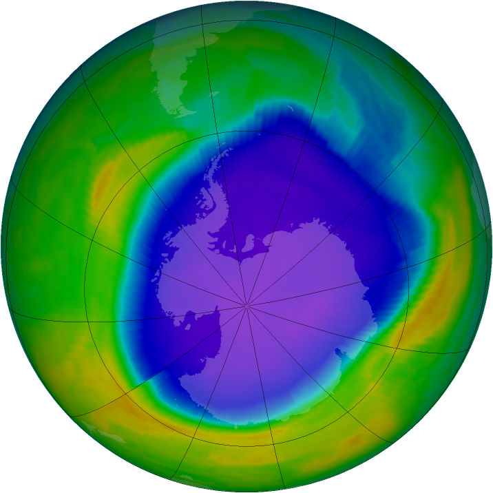 Antarctic ozone map for 07 October 1997