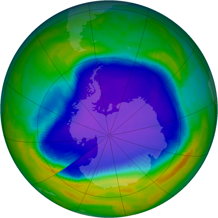 Antarctic ozone map for 09 October 1997