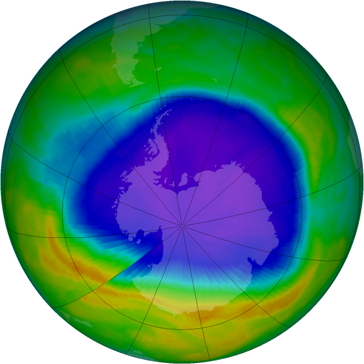 Antarctic ozone map for 10 October 1997