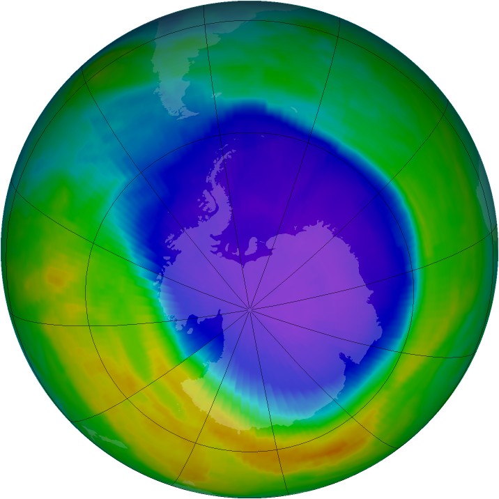 Antarctic ozone map for 12 October 1997