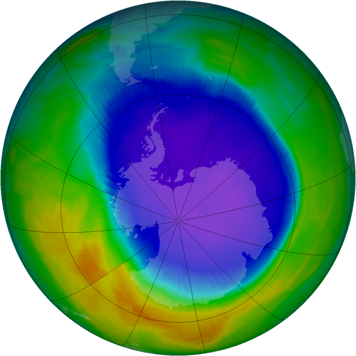 Antarctic ozone map for 13 October 1997
