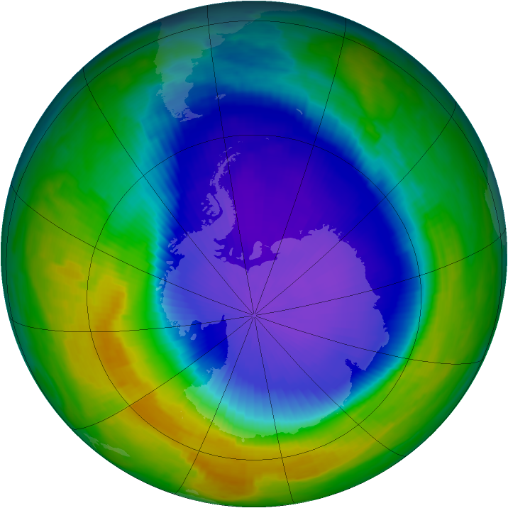 Antarctic ozone map for 14 October 1997