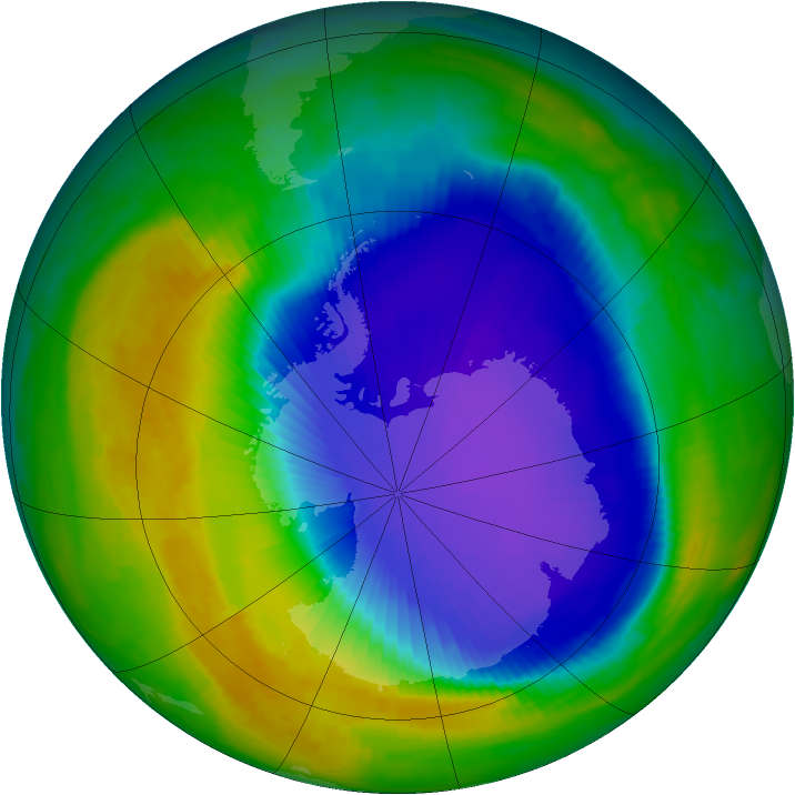 Antarctic ozone map for 17 October 1997