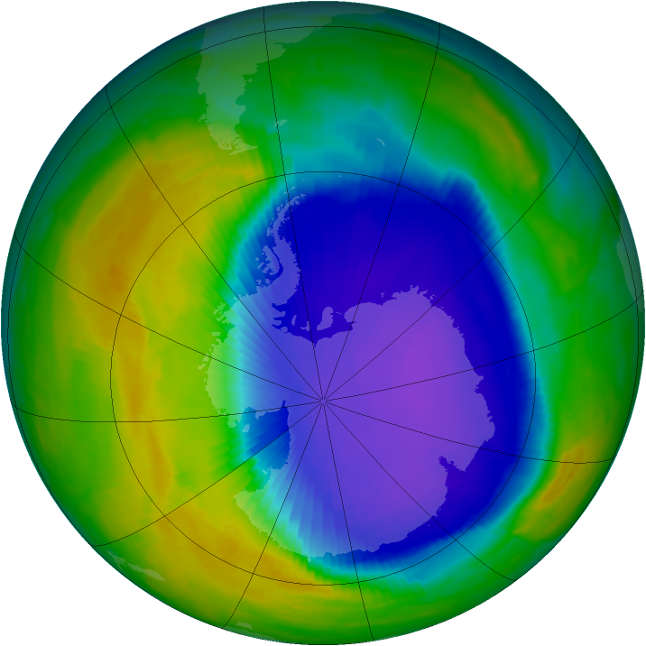 Antarctic ozone map for 18 October 1997