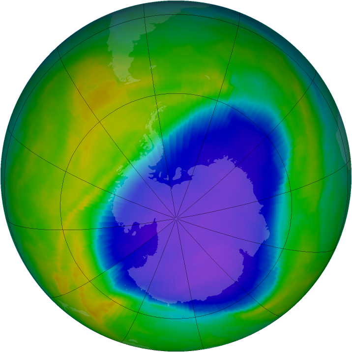 Antarctic ozone map for 20 October 1997