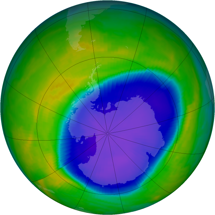 Antarctic ozone map for 21 October 1997