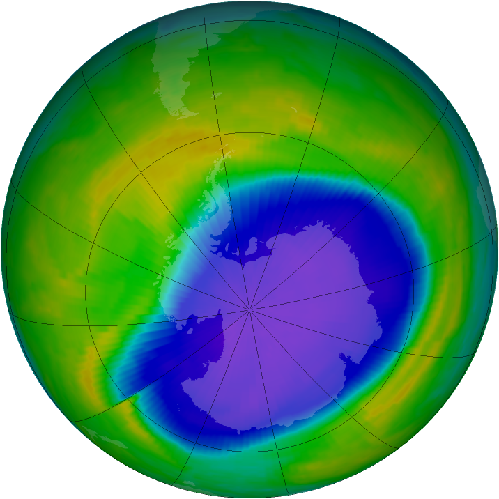 Antarctic ozone map for 22 October 1997