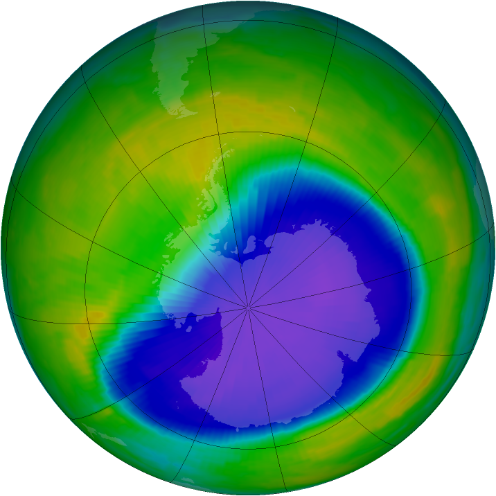 Antarctic ozone map for 23 October 1997