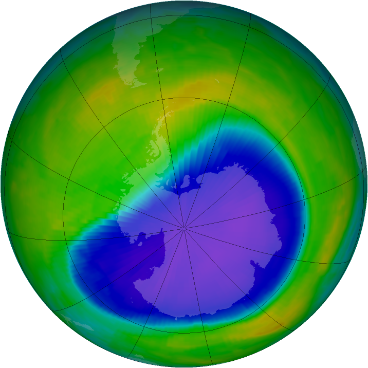 Antarctic ozone map for 24 October 1997