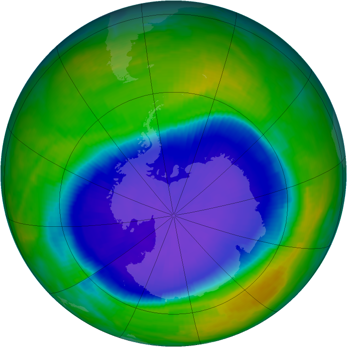 Antarctic ozone map for 27 October 1997